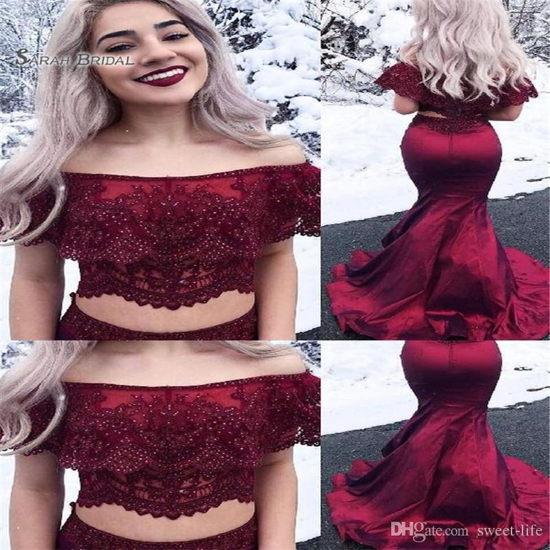 2019 Sweep Appliques Beads Two-piece Off Shoulder Sleeveless High End Quality Evening Party Dress Hot Sales