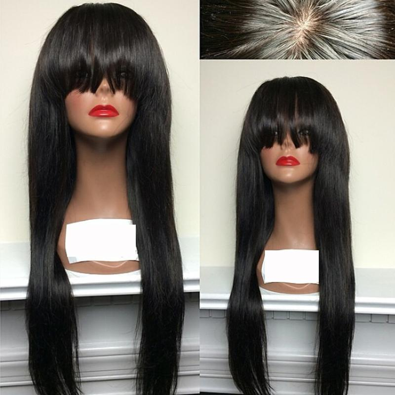Parrucche di pizzo dritto serico con frangia parrucche di capelli umani vrigin brasiliani parrucca piena di pizzo dritto bob naturale per le donne nere