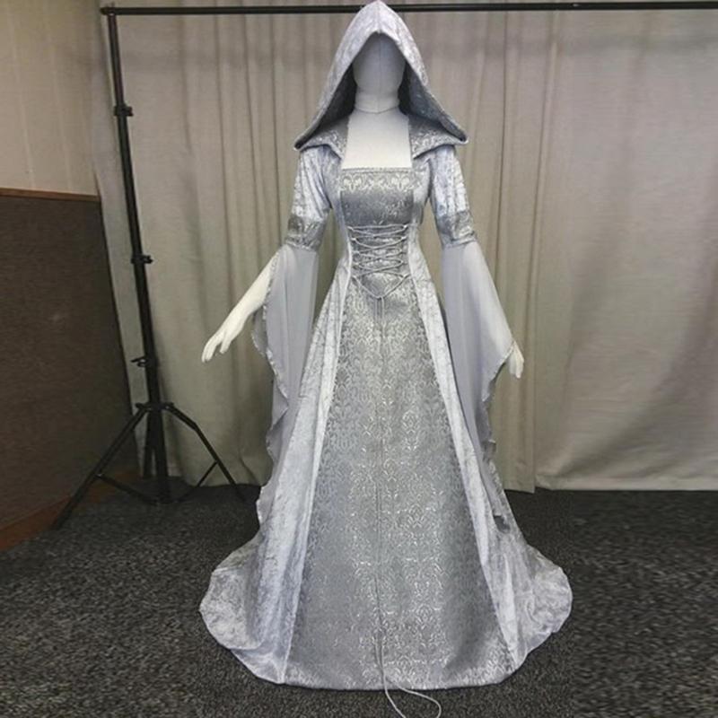 2019 Goth Vintage Vestido Medieval Estilo Cosplay Vestido Festival Roupa Mulheres Boho Romântico Maxi Tribunal Costume # G7