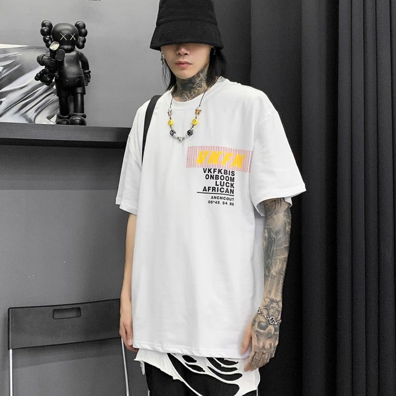 Estate Hong Kong stile di modo di marca del fumetto a maniche corte t-shirt uomini e donne BF allentato pigro vento girocollo Hip Hop Nazionale mezzo di modo