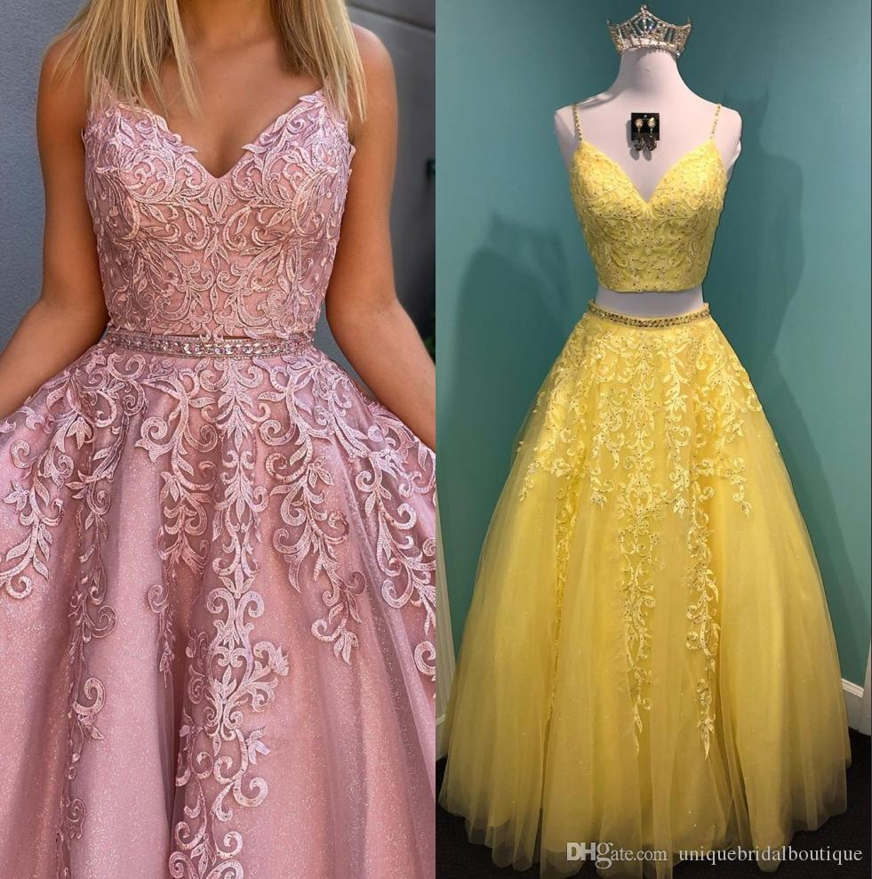 Two Pieces Prom Dresses 2020 Military Ball Formal Event Gowns Ballgown Spaghetti Neckline Lace Appliques Backless Pageant Party Wear Mother Of The Groom Dresses Occasion Dresses From Uniquebridalboutique 106 79 Dhgate Com