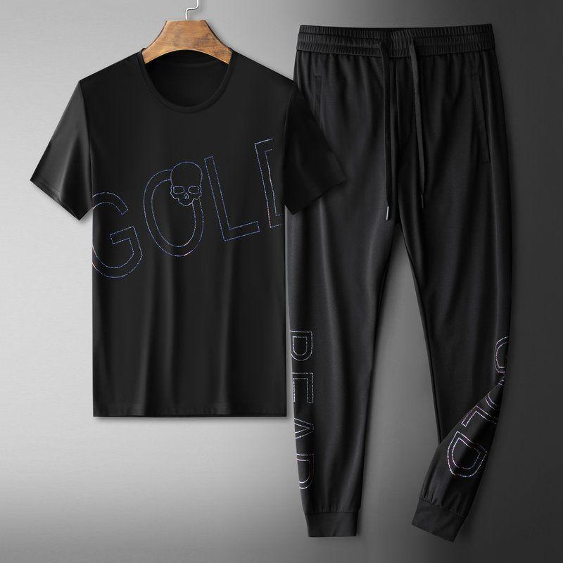 2020 новый весна лето Sweetwear письмо горячий Алмаз повседневные спортивные брюки с коротким рукавом наборы топы костюмы высокое качество спортивные костюмы размер M-4XL