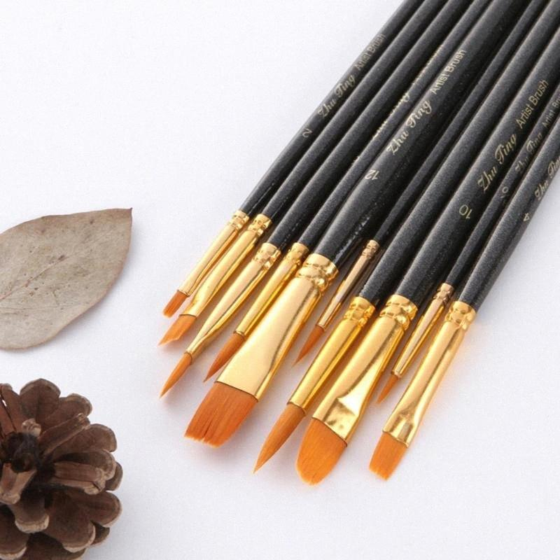 10pcs de la pintura de madera pincel de dibujo Conjunto de herramientas para la acuarela Aceite Acrílico Pintura aaUV #