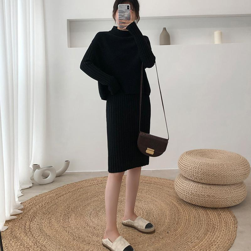 Las mujeres ocasionales de la manera Traje de punto de la falda 2020 nueva mujer Springautumn medio cuello alto suéter de punto chaleco + falda delgada larga vestimenta