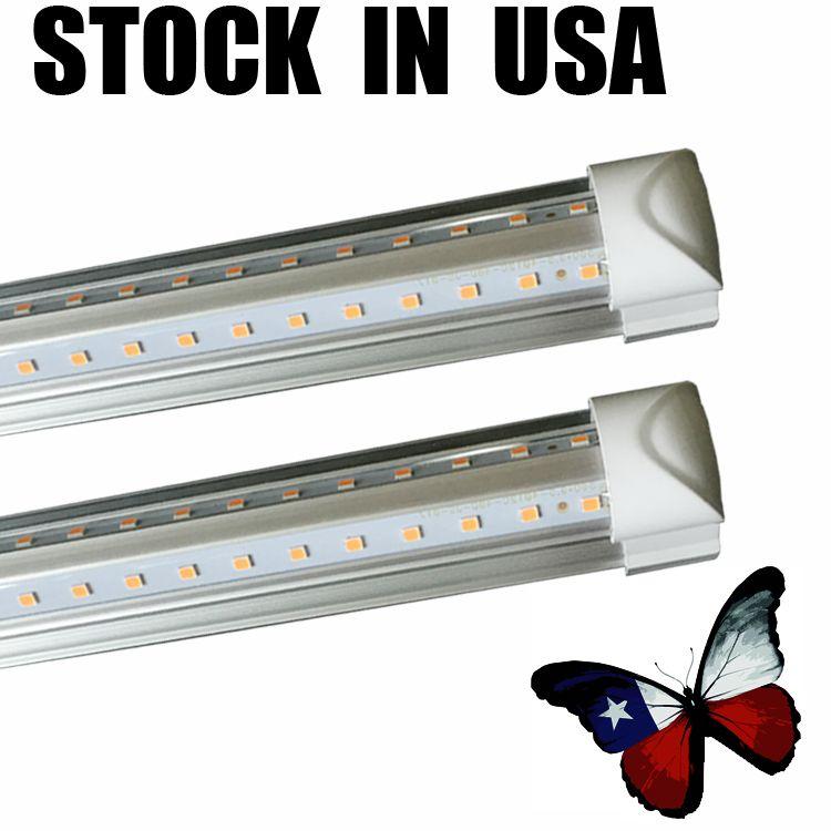4FT LED T8 Tubes Light SMD 2835 LED Integrate Tube 5FT 6FT 8FT LED Lights V-Shaped White 6500K Double Row