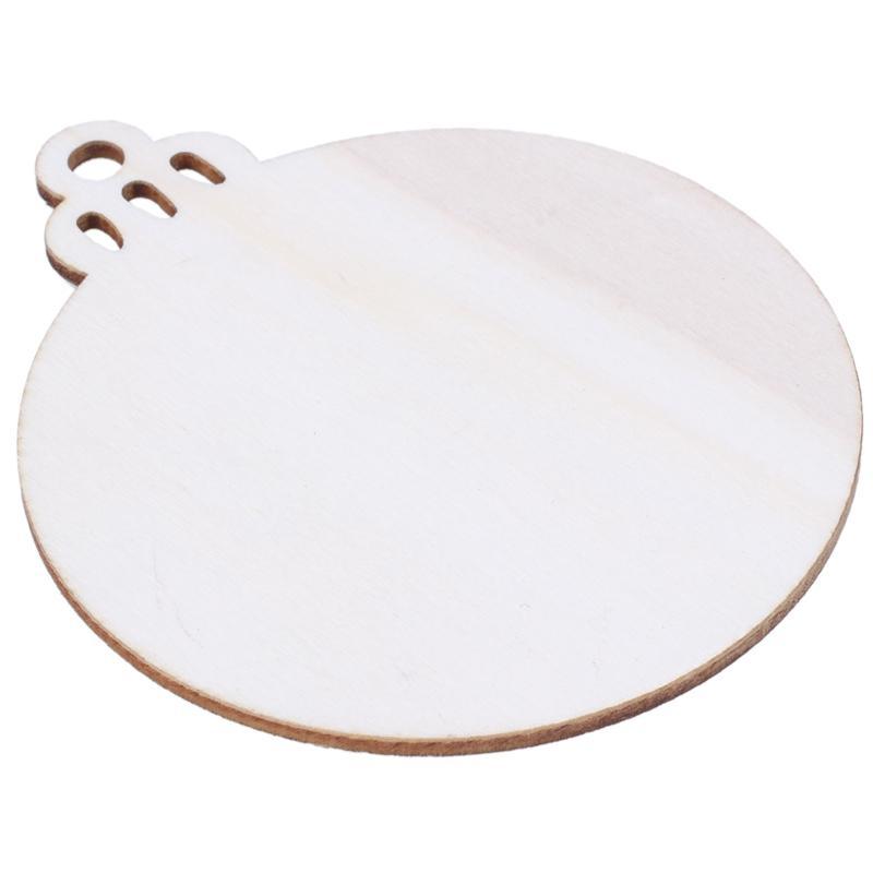 10pcs di legno rotonda bagattella Pendere Albero di natale in bianco delle decorazioni regalo Forme Tag