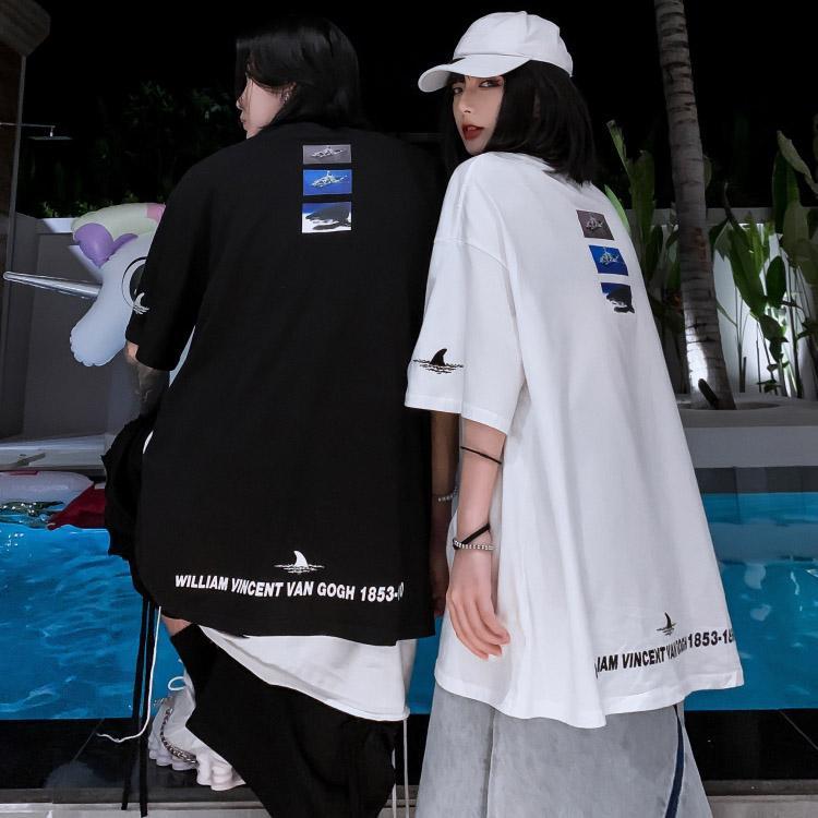 Erkek Kadın Tişörtler 2020 Casual Yeni Aşıklar Köpekbalıkları 3D Baskılı Avrupa ve Amerika Stil Gömlek Moda Çift Gevşek Gömlek Plus Size S-2XL