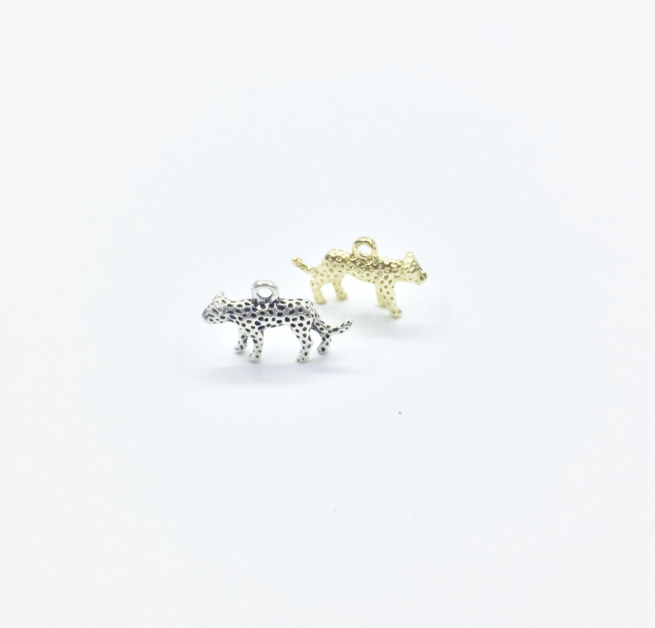 Eruifa 10pcs 15 * 25mm Abbastanza leopardo di zinco dei monili in lega di fascini di DIY Collana, Eearrings 2 colori