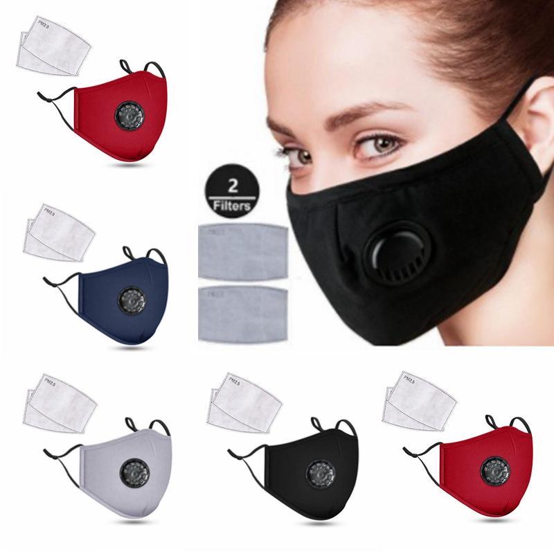 Máscaras DHL reutilizáveis Rosto Anti-poeira e fumaça boca tecido reutilizáveis ajustável máscara de proteção com 2 Filtros para Mulheres Homem PM2.5