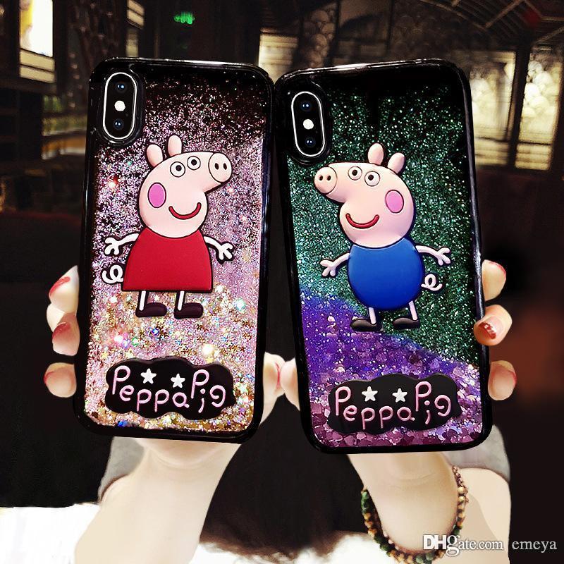 iPhone Para New Bling Glitter dinâmico Quicksand Líquido Caso xs max xr X 6 7 8 6S além de diamante orelha de coelho Casos de telefone bonitos para iPhone 7 8 Plus