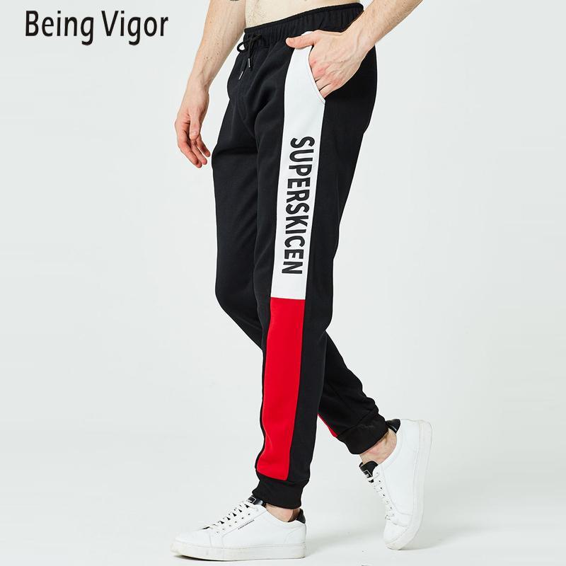 Осень мужчины хип-хоп полосатые брюки новые мужские брюки Мужские твердые спортивные брюки Jogger евро M-2XL T200508