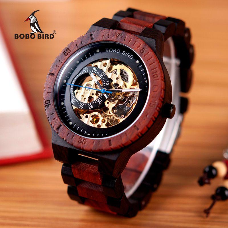 Lujo BOBO pájaro de madera del reloj mecánico de los hombres Relogio Masculino para hombre relojes grandes relojes de primeras marcas erkek Kol saati W-R05 LY191206