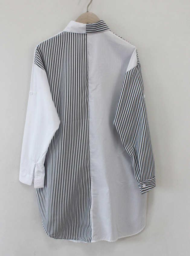 Женская Дизайнерская Рубашка Мода Полосатый Stirching Рубашки С Длинным Рукавом Плюс Размер Повседневная Свободная Уличная Мода Свободная Дышащая Женская Одежда