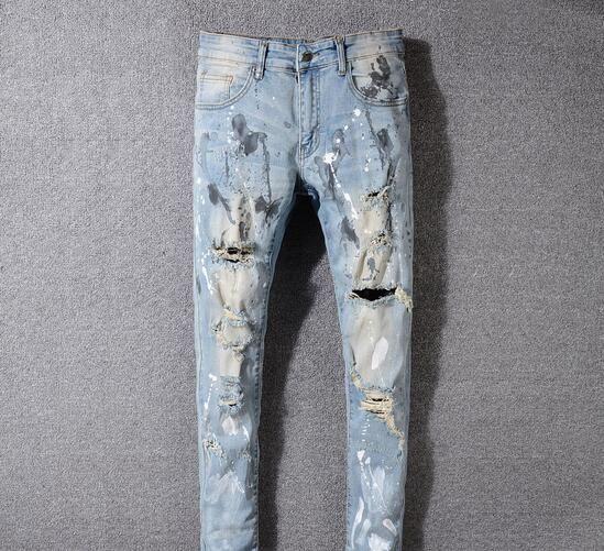 NUOVI Jeans strappati da motociclista strappati da uomo Slim Fit Biker da motociclista Jeans denim Hip Hop Designer Pantaloni Miri Mens Jeans # 530