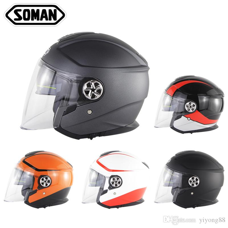 Soman Motorcycle Visor Helmet Open Face Casque Anti-Uv Retro Casque Moto ECE Criterion Scooter Helmets 519