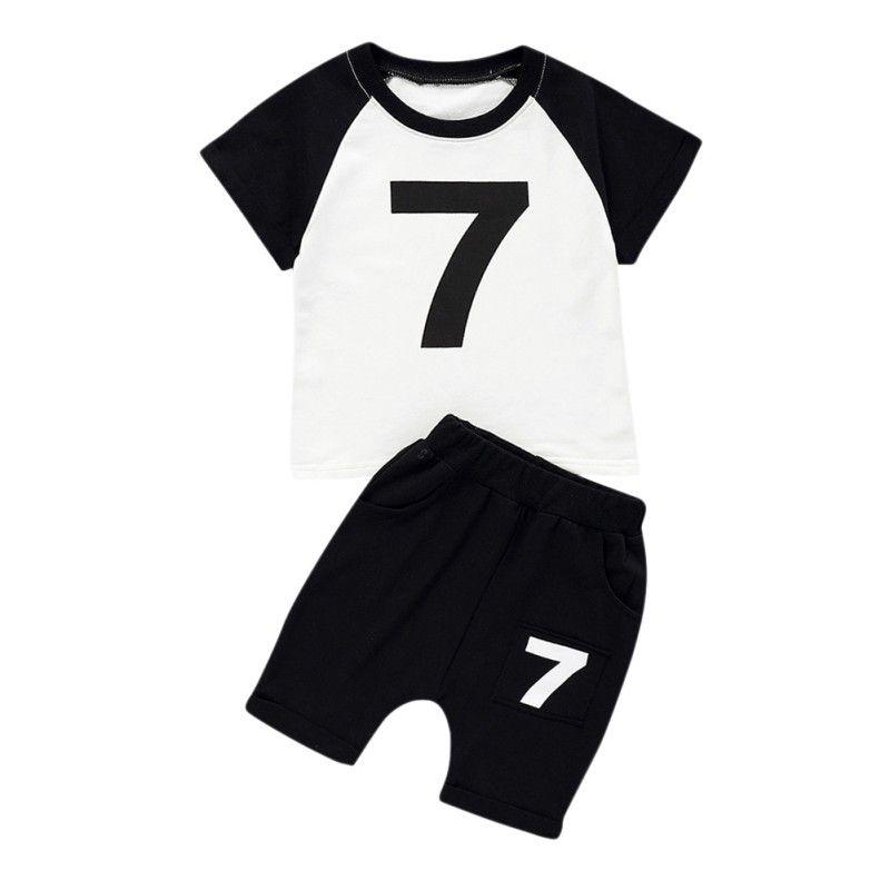 Sommer-beiläufige Kinderbekleidung Baby Nummer Kurz Hülsen-Druck-T-Shirt Top + Solid Color Shorts Sets 2020 neue Ankunfts-