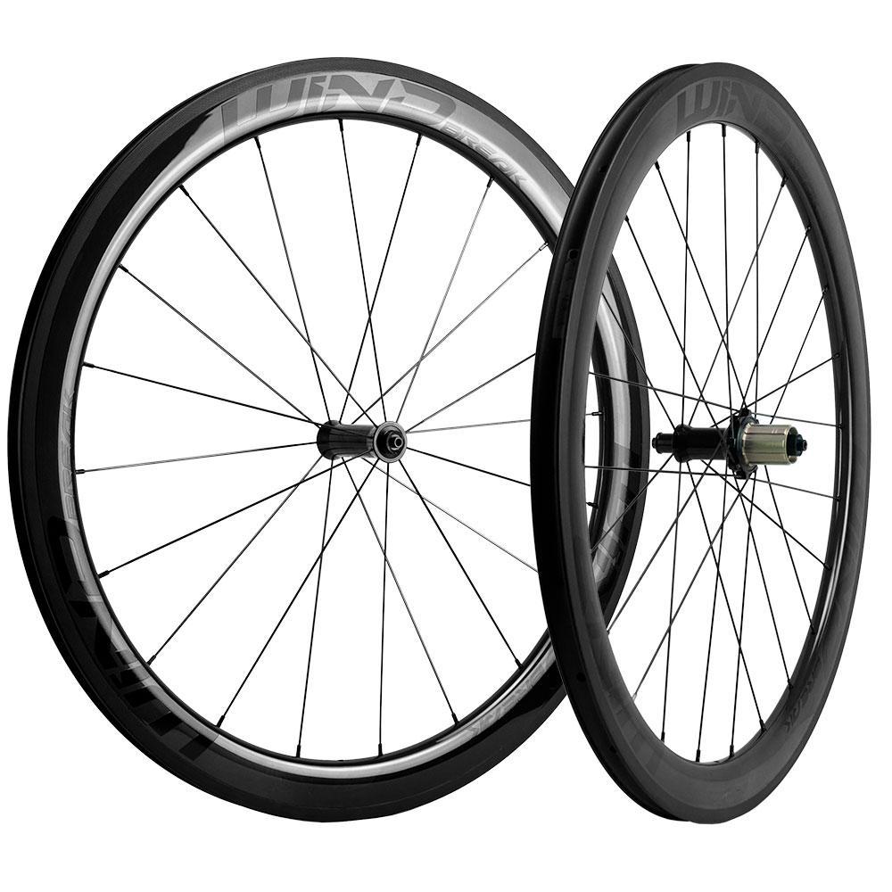 Linha de freio Glossy basalto 700C Clincher / Tubeless / Tubular 50 milímetros Profundidade de carbono Wheelset 25 milímetros Largura de carbono rodas de bicicleta UD