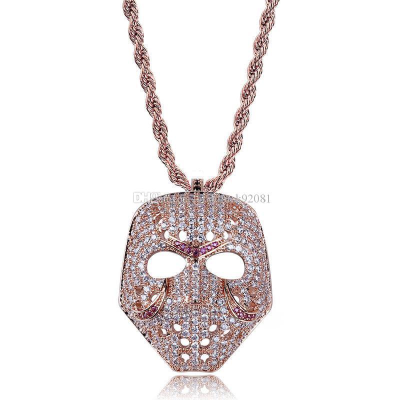 Bijoux Crâne Pendentif Colliers Pour Hommes Plaqué En Or 18K Hiphop Bijoux Bling Zircon Cubique Hip Hop Chaîne De Collier En Or