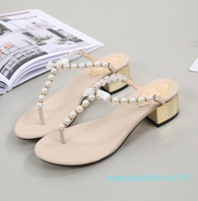 Женщины вскользь тапочки плоский сексуальный дизайнер Классический бренд роскошных жемчужные бусы моды лета приморский Берега Боу сандалии тапочки T04
