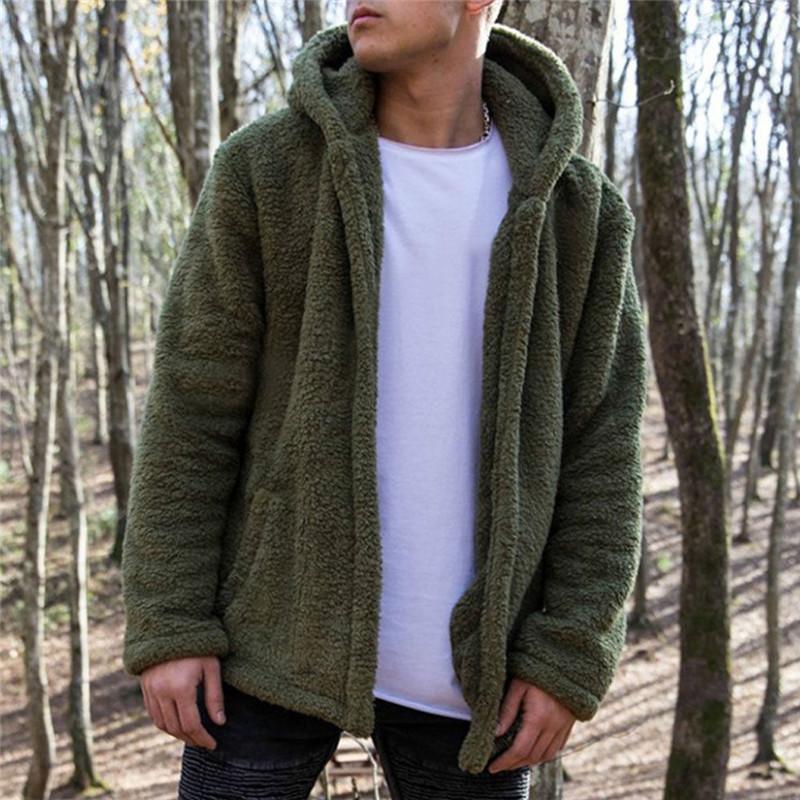 Para hombre de peso pesado capucha de piel chaquetas de bolsillo Fluffy Fleece Fur Jacket Invierno cálido suelto Outwear Cardigan llano grueso abrigo chaqueta