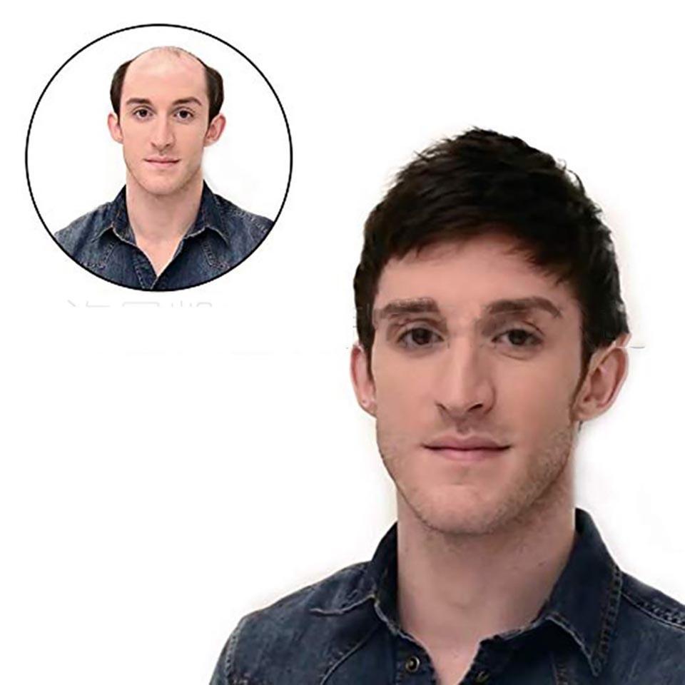 mens toupee dei capelli umani parrucche realistica sostituzione traspirante parrucca pelle sottile eccellente durevole umano parrucche parrucca tendenza della moda Con Remy Uomo