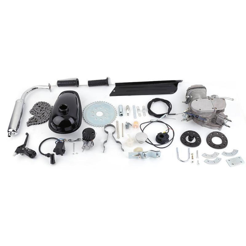 جديد 2 السكتة الدماغية 80cc دورة المحرك محرك كيت الغاز عظيم للدراجات بمحركات دورة الدراجات الفضة