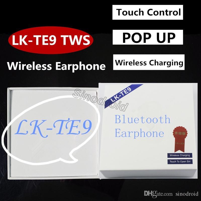 LK-TE9 TWS Bluetooth 5.0 Earbuds Activate Siri Wireless Charging Earphones Touch Control Binaural Calling Headphone For Iphone Smartphones