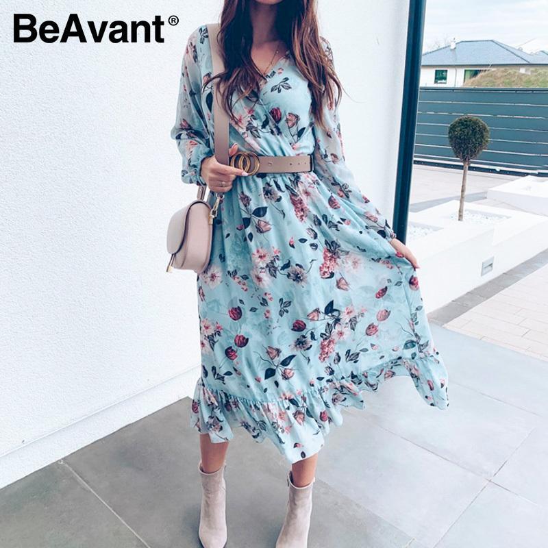 BeAvant azul de manga larga Mujer Boho vestido de la impresión floral de la vendimia vestidos de volantes femenino de vacaciones de verano vestido ocasional Vestidos 2020 Y200623