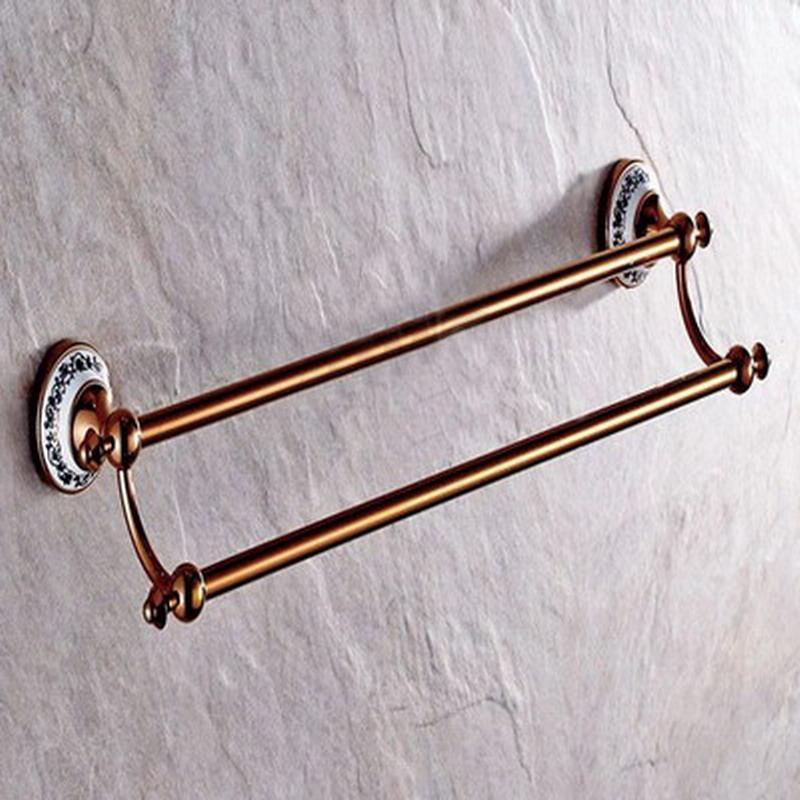 Avrupa Antik Rose Gold Pirinç Banyo Donanım Seti Duvar Banyo Aksesuar Seti tuvalet fırçası tutucu havlu halka banyo raf Monteli