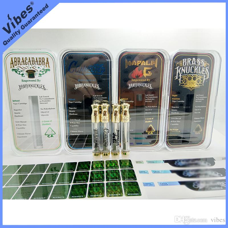 Brass Knuckles Cartridges w// Cases Hologram Stickers Knuckle 5 Pack
