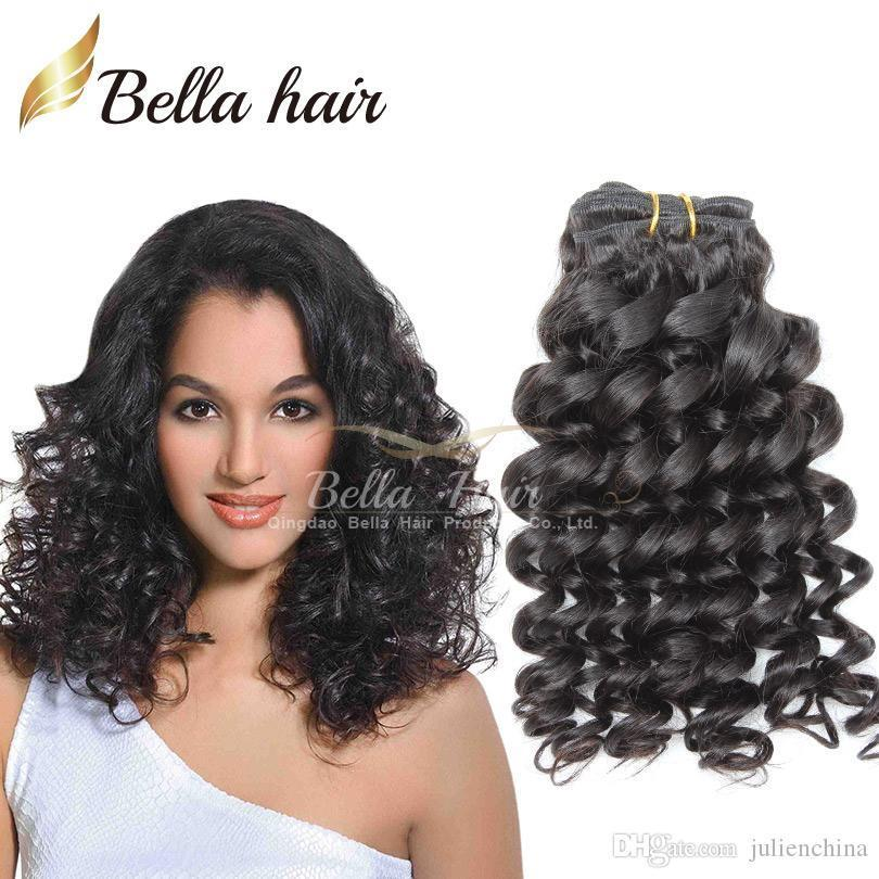 Bella Hair 8A Brazilian Hair Funmi Baby Curly Spring Curl Dyeable Black Color Human HairExtensions 3Bundles Free Shipping Hair Weave Weft