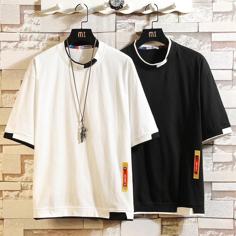 Nedensel Moda Gevşek Örme tişörtleri Running 5XL Kısa Kollu T Shirt Erkekler Hip Hop Erkek Pamuk Artı boyutu Tişört O-boyun Yaz Tee