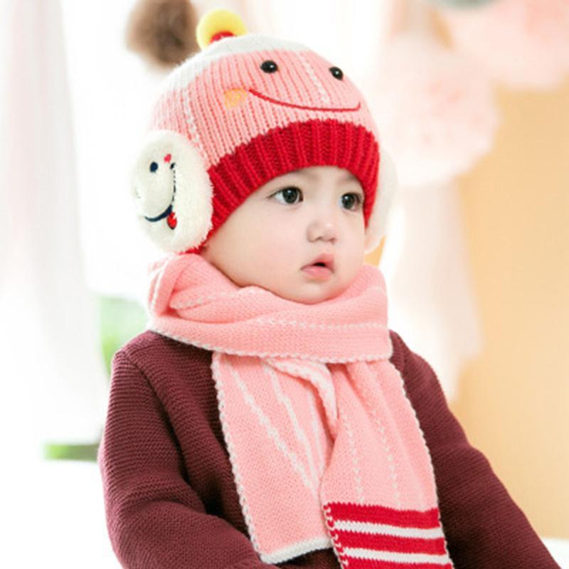 Invierno Cálido Bebé Sombrero hecho punto Bufanda Conjunto Moda Recién nacido Niño Niño Niñas Robot Cara sonriente Protección auditiva Gorros Gorros Niños Skullies