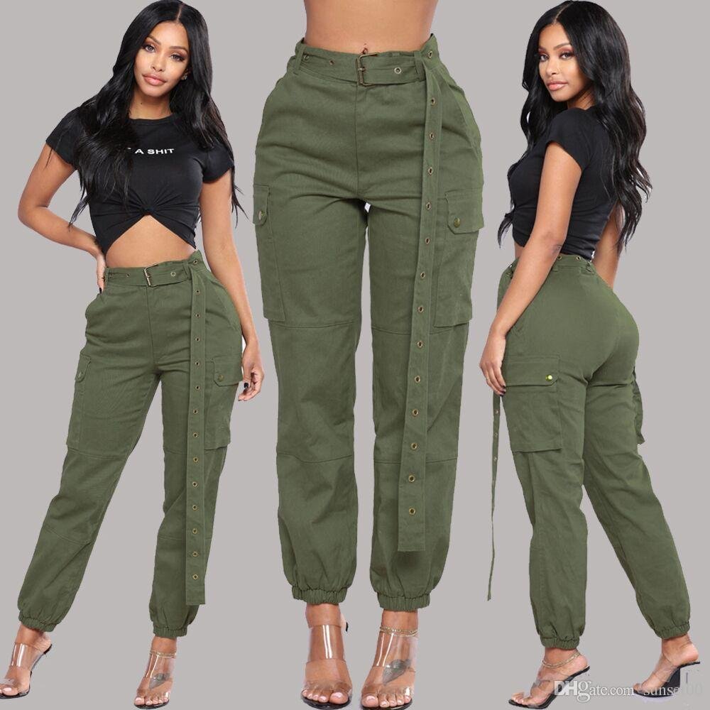 Women black Harlan pants ladies cargo pants multi-pocket capris girls overalls casual trousers without waist belt free shipping