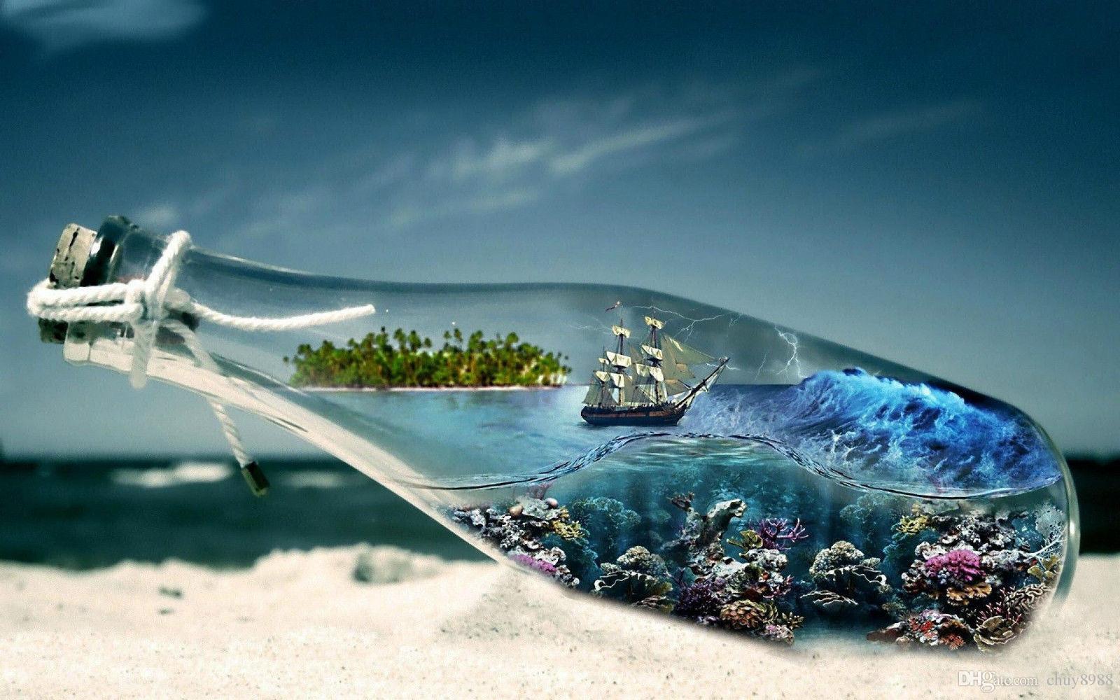 Sailing Ship in a Bottle Art Silk Print Poster 24x36inch(60x90cm) 087