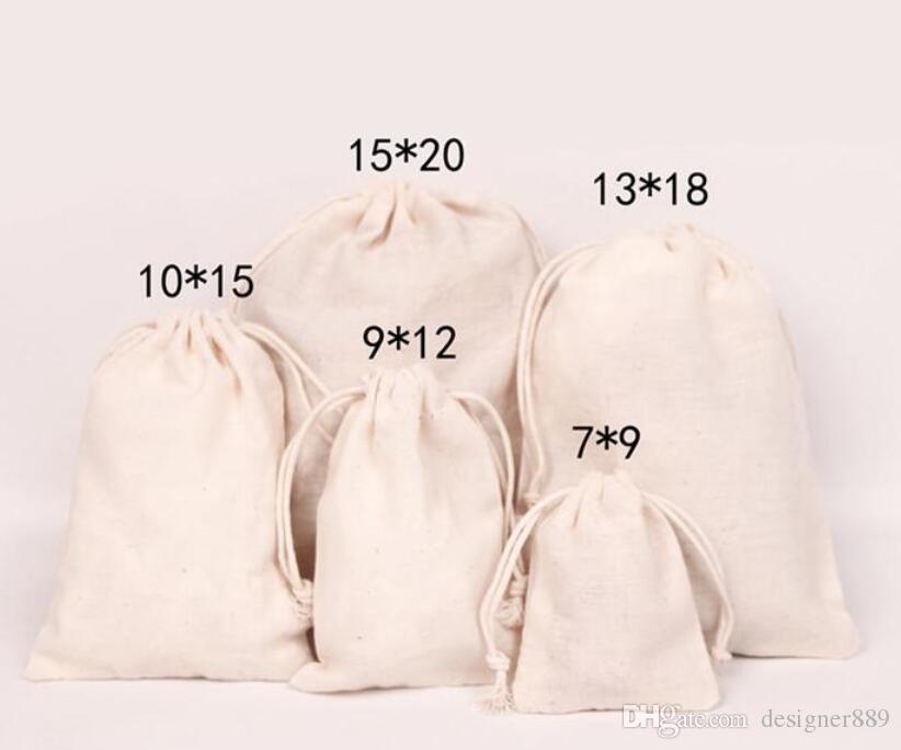 Tuval İpli Torbalar Takı Çanta 100% Doğal Pamuk Çamaşır Favor Tutucu Moda Takı Torbalar Epacket Ücretsiz