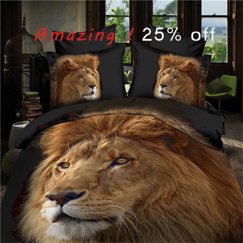 3d lion realistic bedding set duvet cover bed sheet pillow case 4pcs queen size bedclothes