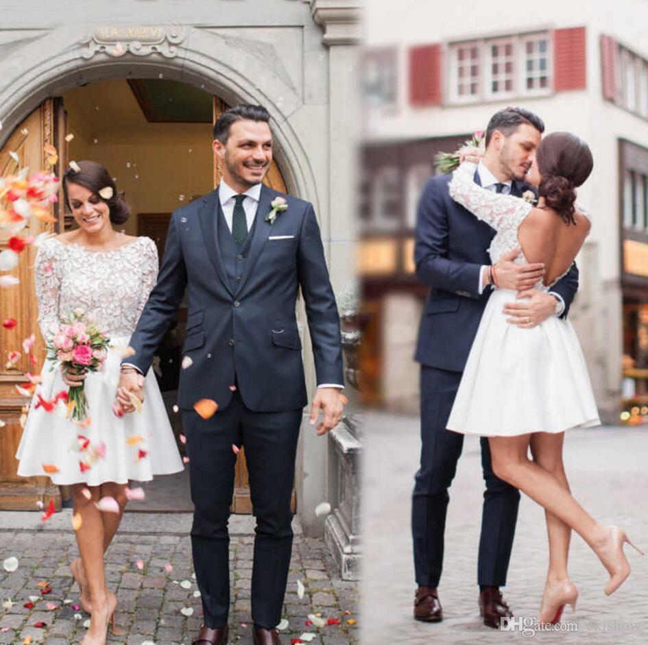 2020 nuovo scollo tondo abiti da sposa corti lunghezza al ginocchio maniche lunghe abiti da sposa backless abiti da sposa da spiaggia su misura