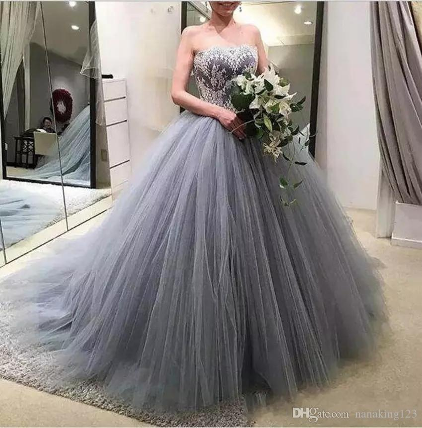 Cheap Tulle Grey Ball Gown Quinceanera Dresses Sweetheart Lace Applique Sweep Train Princess Prom Dresses vestidos de quinceanera sweet 16