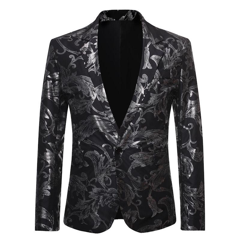 Черный костюм Paisley Blazer Мужчина 2020 Марк Ночной Мужской Blazer куртка Бизнес Формальные платья Пиджаки Сценическая Одежда для вокалистов