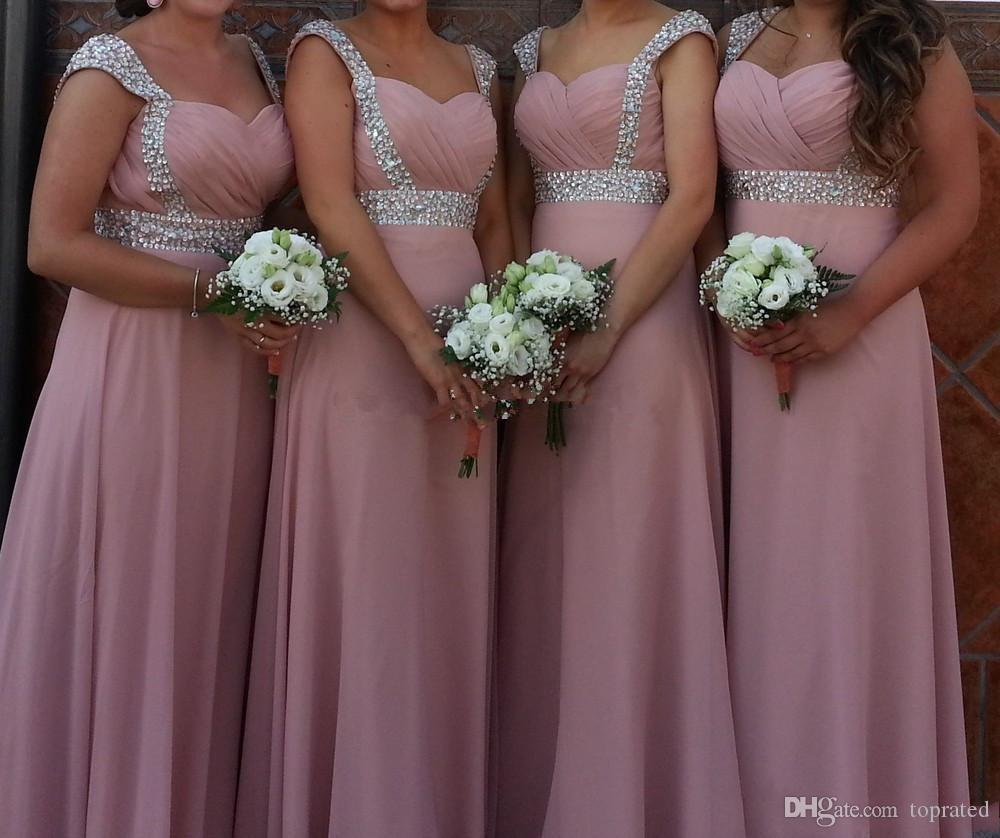 Бисероплетение Милая шифон Длинные платья невесты Узелок Свадебные платья партии Blush Pink Vestito Damigella Donna