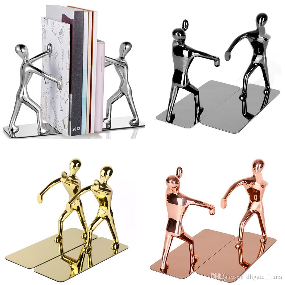 1 Pair Heavy Duty Zinc Alloy Man Decorative Bookends, Nonskid Metal Book Ends for Shelves, Book Support, Book Stopper for Books, Magazines