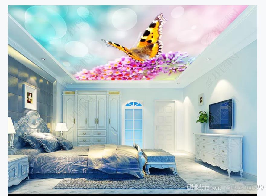 Gros-Intérieur 3D Personnalisé Photo Murale Mur papier mural Romantique Floral Papillon Chambre Salon 3D Zenith Plafond Papier Peint