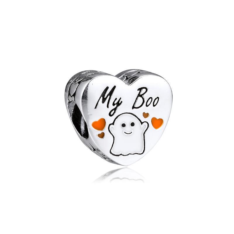 Yeni% 100 Gerçek 925 Gümüş My Boo Kalp Charm Boncuk Fit Kadınlar Hediye Avrupa Charm Bilezik Kolye Diy Takı Aksesuar