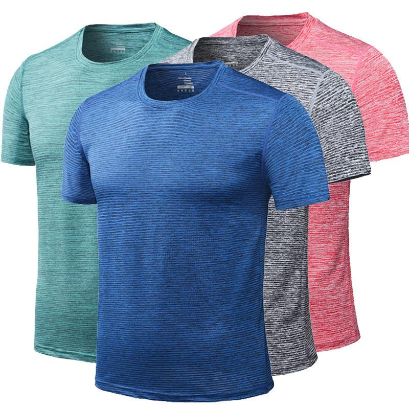 Sportswear Summer Fitness Clothing Quick-Drying T-Shirt Men'S Short Sleeve Crew Neck Loose And Plus-Sized Reflective Strips Spor