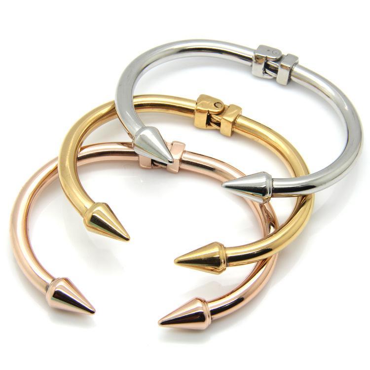 3 Color de grado superior clavo de acero de titanio joyas pulsera accesorios de moda remache brazalete rosa regalos de joyas pulsera de oro del mitón