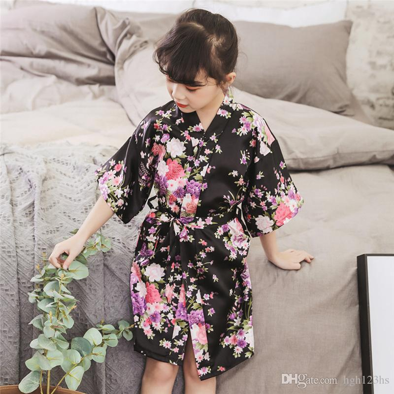 2020 Spring Summer Children Satin Robes Kimono Bath Robe Kids Flower Print Girl Silk Bathrobe Kids V-neck Lace-up Nightgown dh