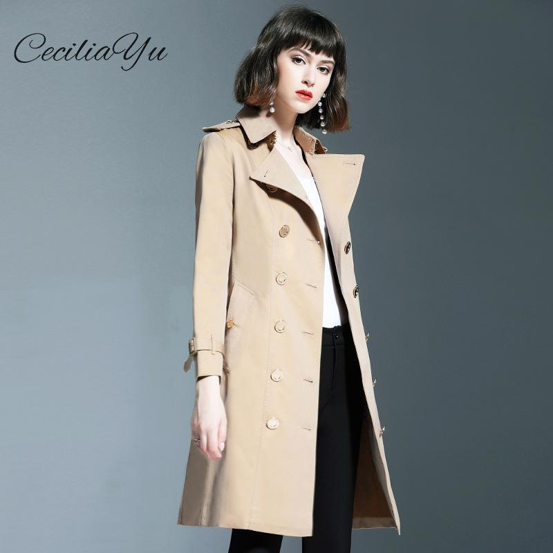 Ceciliayu тренч для женщин мода британский стиль ветер 2019 осень длинный плащ женская одежда 2019