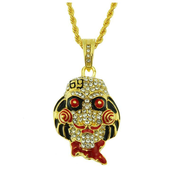 Fashion-hot sale Europe and America hip-hop personality trend chainsaw scare mask doll pendant necklace Halloween cosplay jewelry