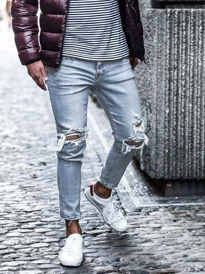 Kot Delikler Uzun Orta Bel Düzenli Yıkanmış Fermuar Modern Erkek İnce Jeans Erkek Giyim Tasarımcısı Erkek